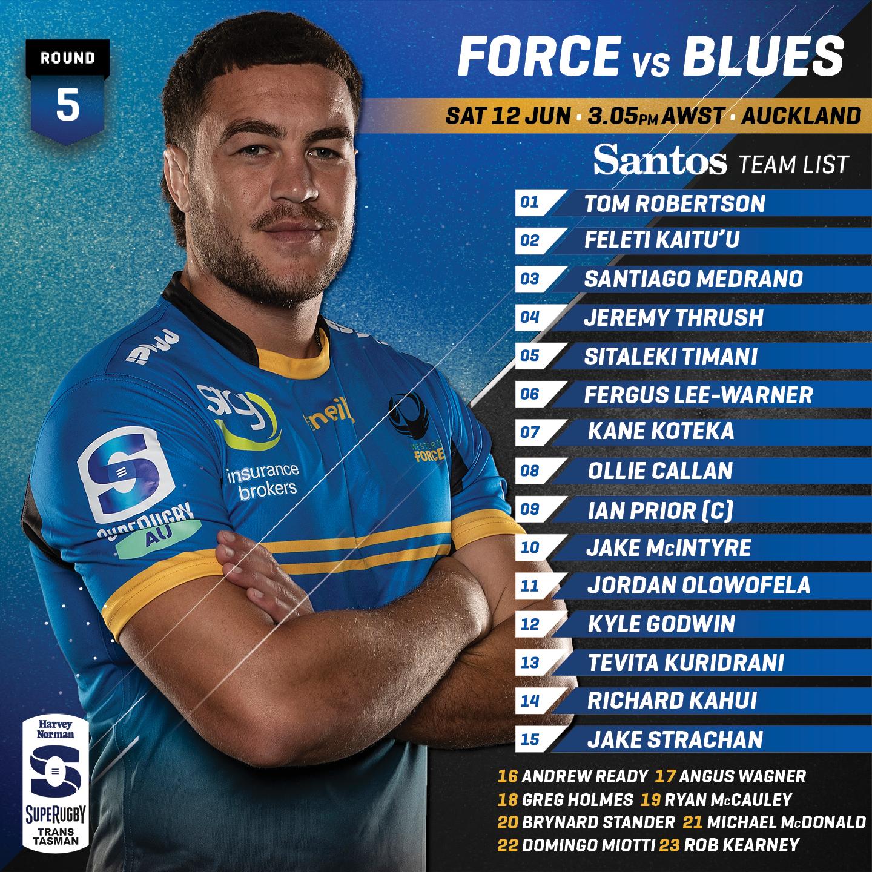 Round 5 Team Announcement Force vs Blues